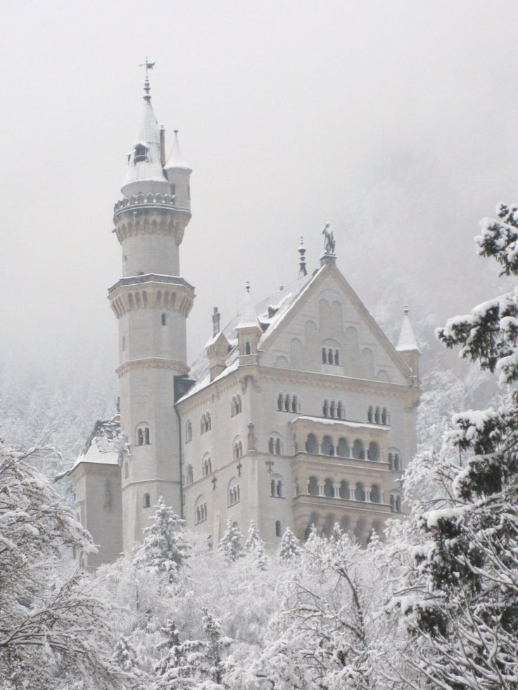 escape: Beautiful, Snow, Winter Wonderland, White, Castles, Places, Neuschwanstein Castle, Bavaria Germany