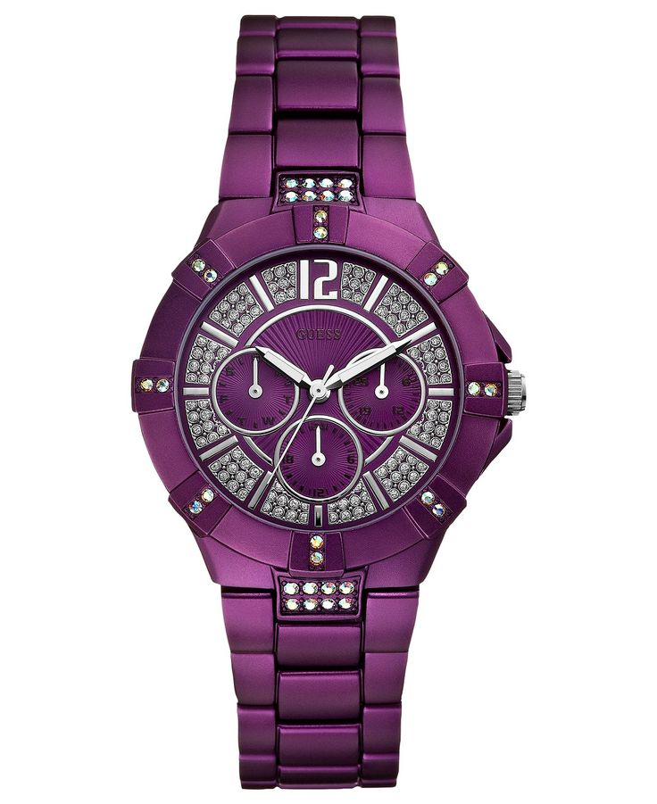 GUESS Watch, Women's Purple Aluminum Bracelet 41mm U0024L2 - All Watches - Jewelry & Watches - Macy's