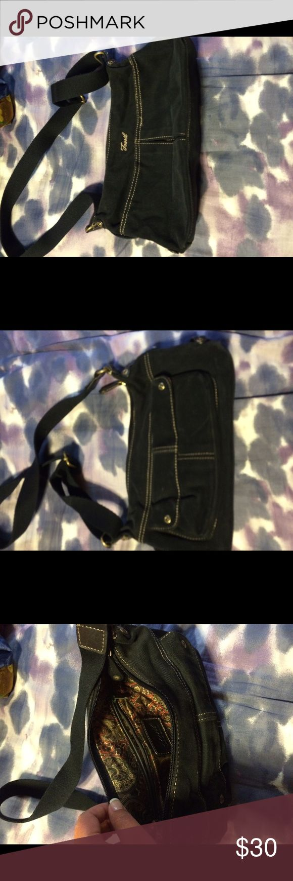 Fossil bag Black denim material fossil bag. Gently used Fossil Bags Mini Bags