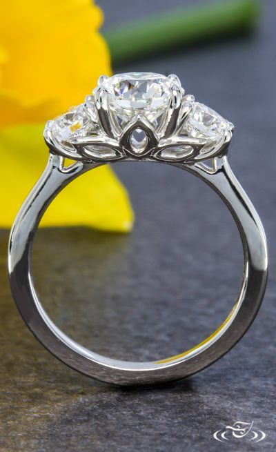 Three Stone Lotus Engagement Ring. Green Lake Jewelry