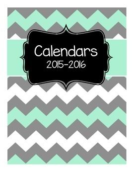 Keep your school year organized and plan ahead using this FREE set.Free set of calendars to use in a Teacher Binder for the 2015-2016 school year. Includes 3 color calendars and one black and white.This product is part of the Editable Teacher Binder