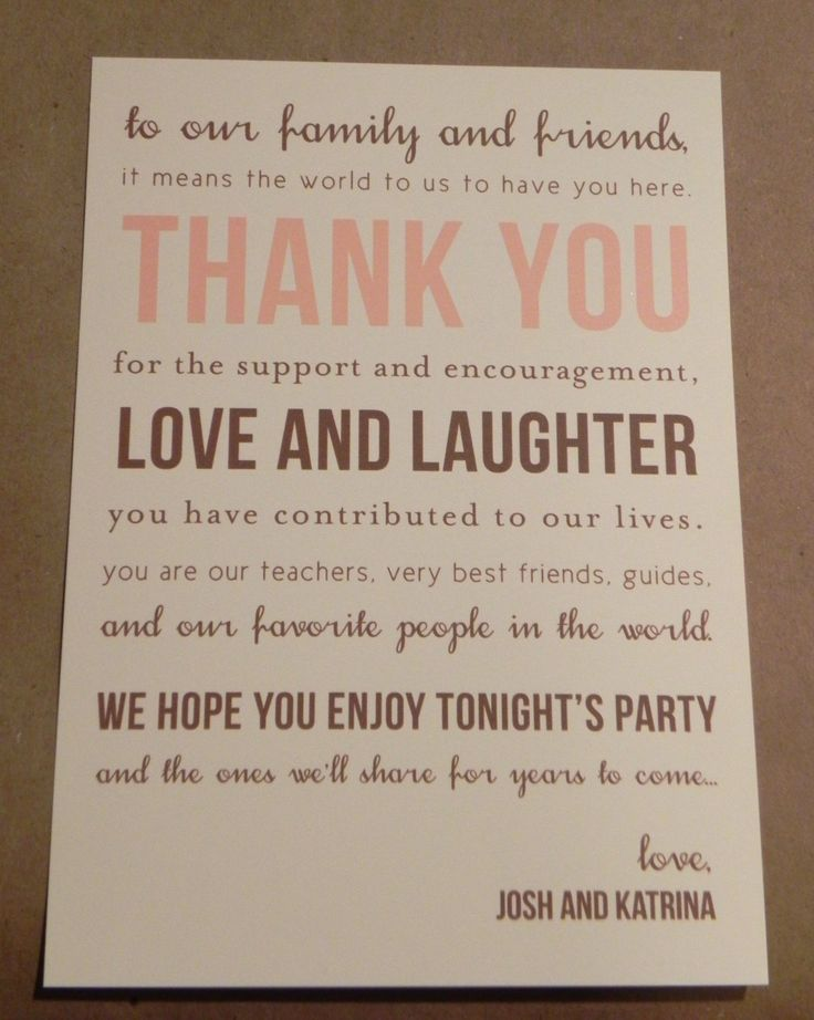Thank you Card Printed Place Setting / Welcome Basket / Wedding Reception Favor / Rehearsal Dinner / From the Couple / Stationery Cards. $0.90, via Etsy.