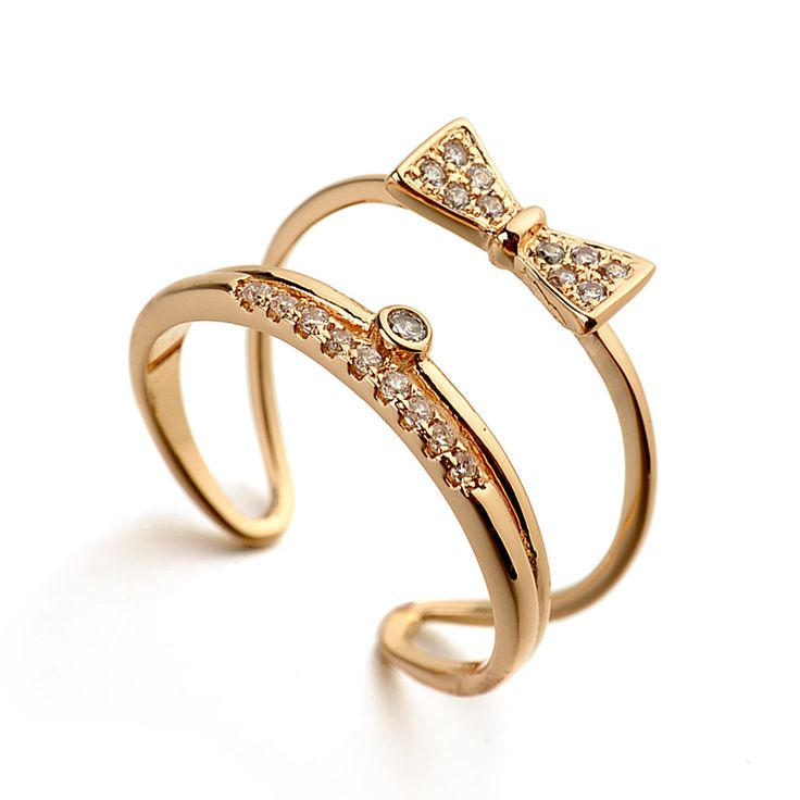 Провод мода новинка 2 слой бабочка любовник цветок бантом кольцо с позолоченными, небольшой открытое кольцо для студентов