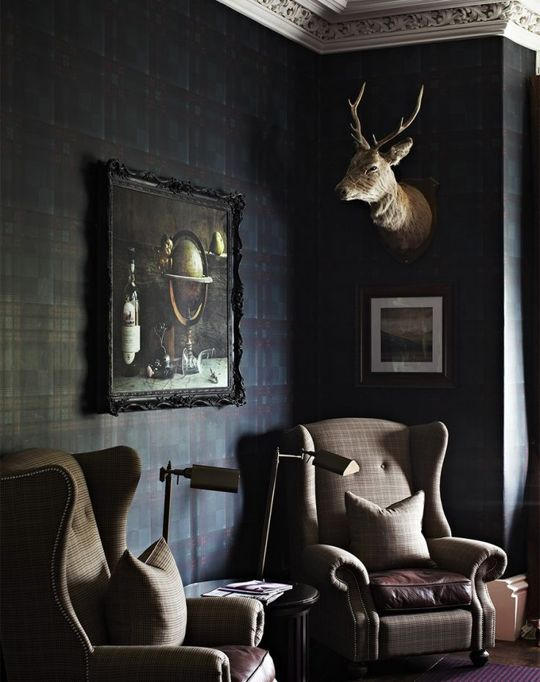 A traditional Dark Living Room in Jamb director Henry Bickerton's Victorian  house painted in Farrow &