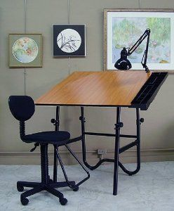 Alvin Onyx 4-Piece Drafting Table Creative Center by Alvin and Co Inc. $219.99. What We Like About This Drafting Table The Alvin Onyx 4-Piece Drafting Table Station IIis a complete drafting setup at a tremendous value. It includes a reversible and adjustable drafting table with rounded corners a pneumatic height-adjustable rolling chair from 23 to 29 inches a swing-arm work lamp and a convenient side-attached storage caddy. This drafting table features a black base with che...