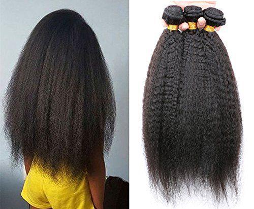 Moresoo 1 Bundle Naturel Vierges Kinky Cheveux Raides Tissage Extension Bresilienne Pas Cher 100gram/pc 20 Pouces/50cm Naturel Noir 1B:…