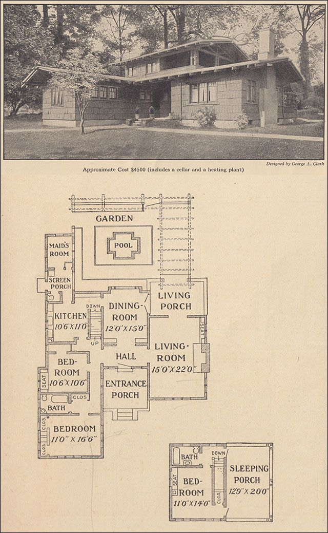 "1916 Airplane Bungalow - Ladies Home Journal - George A. Clark.  Notice the ""sleeping porch"" on 2nd story....nice."