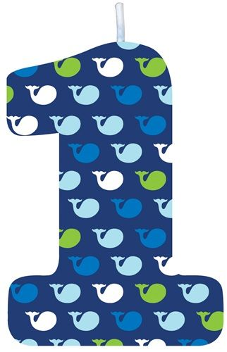 """Measuring 2.5-inches tall, this """"1"""" first birthday candle is blue with white, green, and blue whales and perfectly matches our incredibly popular Ocean Preppy Boy First Birthday decorations."""