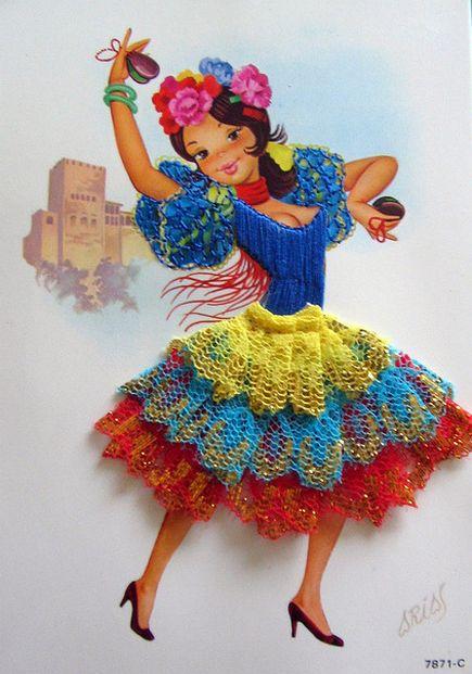 Carte brodée / embroidered post card