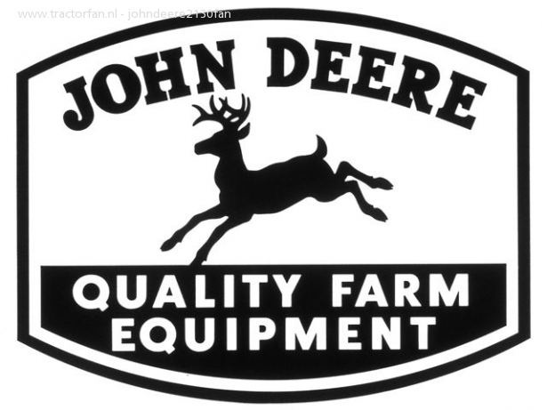 """1950 John Deere Logo. The deer's antlers were turned forward, the tail pointed up, and it was no longer shown bounding over a log. The logo """"Quality Farm Equipment"""" was added. The words """"Moline, Ill."""" were also dropped -- a change long overdue since John Deere was increasing its reach throughout the world."""