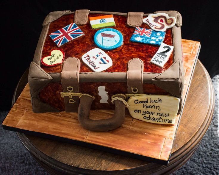 Bon voyage suitcase cake to say farewell and good luck