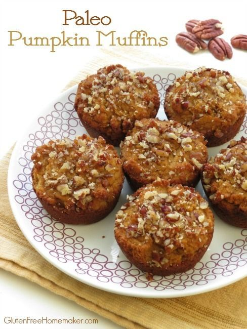 These paleo pumpkin muffins are soft, moist, lightly sweetened with honey, and full of fall flavors. My family loved them!