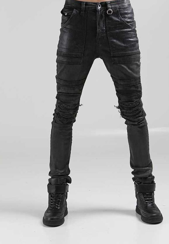 Details about korea_top mens denim pants mens black stretch skinny ...