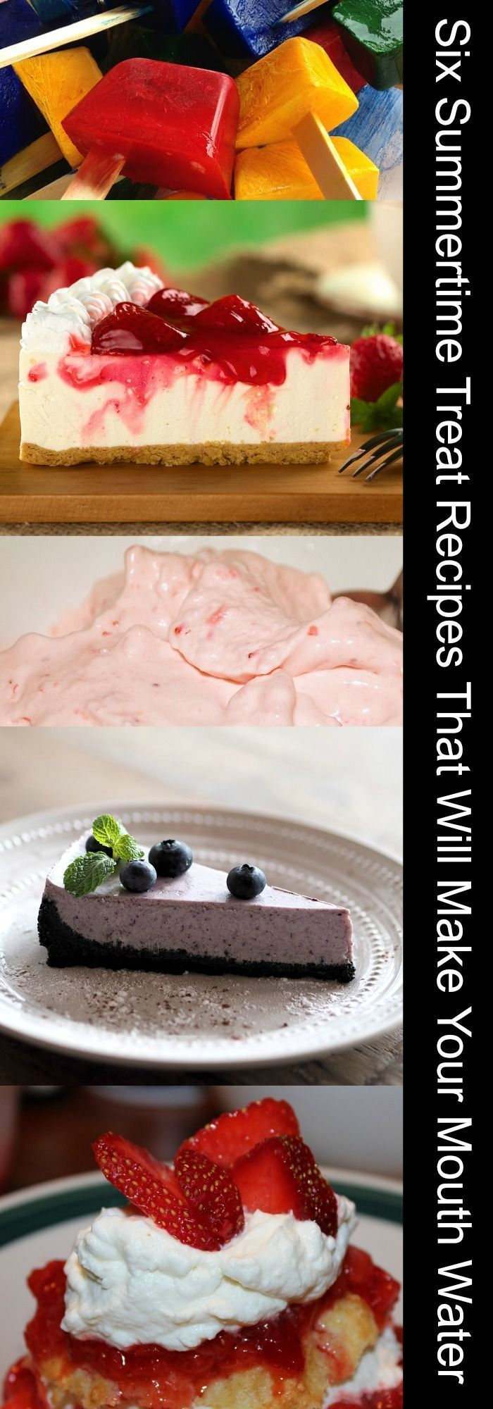 Six Summertime Treat Recipes That Will Make Your Mouth Water: Ice Pops, No Bake Cheesecake, Strawberry Shortcake, Homemade Ice Cream, Fruit Cobbler, Blueberry Cheesecake #summerrecipe #cheescake #icecream #summertime