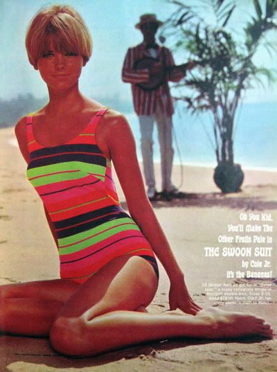 Cole of California vintage ad for the Swoon Swim Suit bathing suit - model Cheryl Tiegs 1967 #vintageswimwear