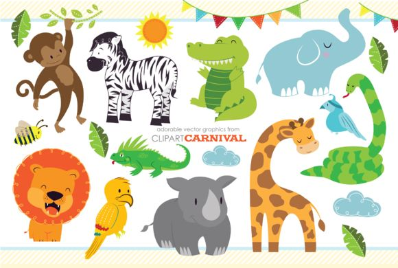 Cute Baby Jungle Safari Animals Art by ClipArtCarnival on @creativemarket
