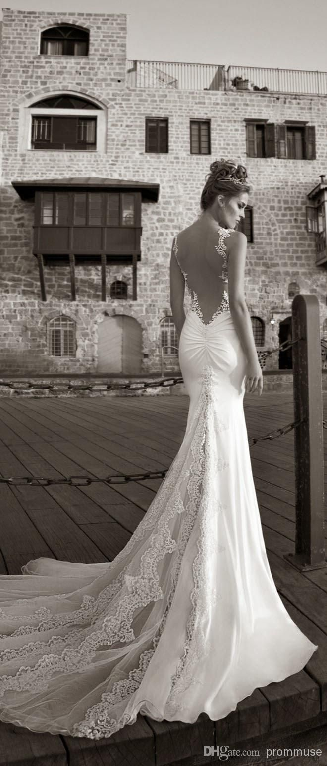 Simple Galia Lahav Vintage voluminous trumpet silhouette dress made of novelty two toned lace Lace Trumpet Wedding DressLow Back