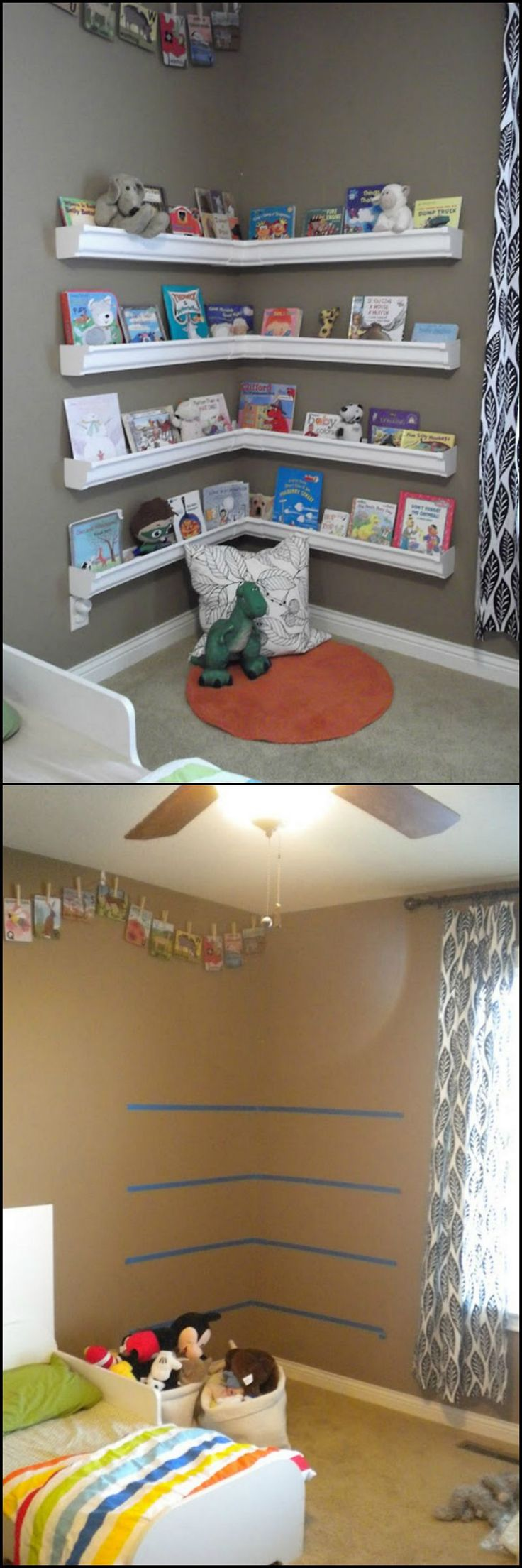 How To Make Bookshelves From Repurposed Gutter  http://theownerbuildernetwork.co/i2tl  Now isn't this a clever way of making a simple and cheap bookshelf for the kids room.  It's also great for being a space-saving bookshelf. This way, the kids have more space to run around and play in the room.