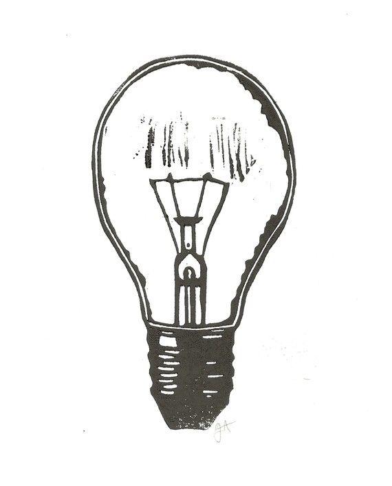 LINOCUT PRINT  lightbulb BLACK letterpress poster par thebigharumph, $20,00