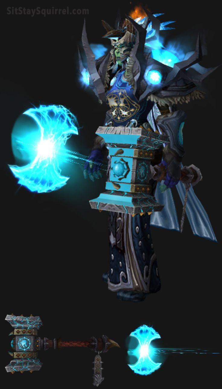 Orc Female Enhancement Shaman Artifact Transmog Set. World of Warcraft Legion