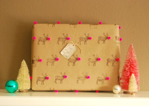 DIY Pom-Pom Reindeer Wrapping Paper