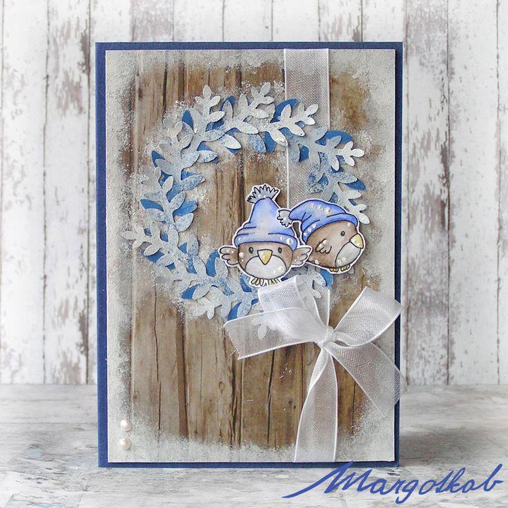Vánoční+přání+ptáčci+modří+Přáníčko+z+papíru+velikost+a6.