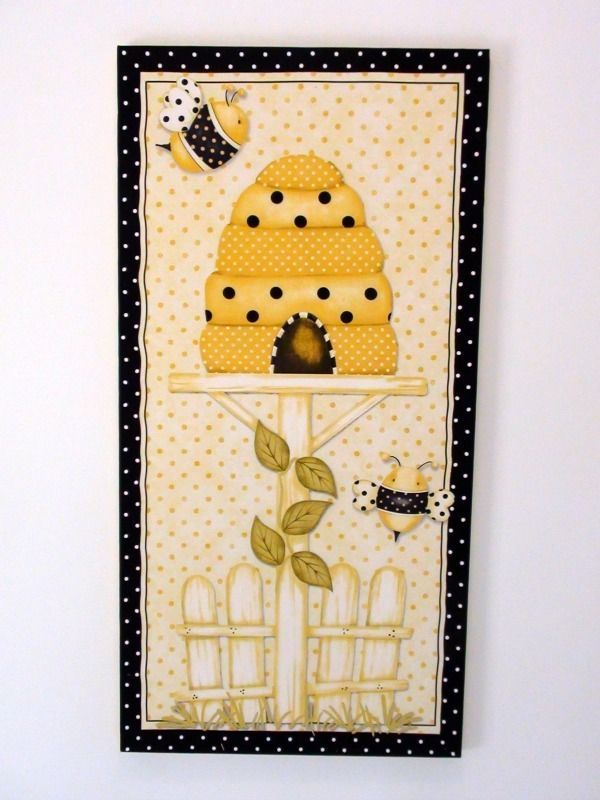 Bumble Bee Hive Kitchen Retro Wall Art Hanging Picture Decor Yellow Polka Dots