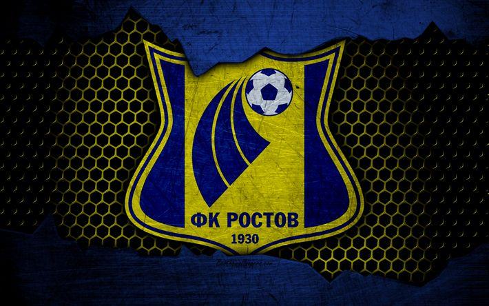 Télécharger fonds d'écran FC Rostov, 4k, logo, russie Premier League, football, club de football, la Russie, grunge, métal, texture