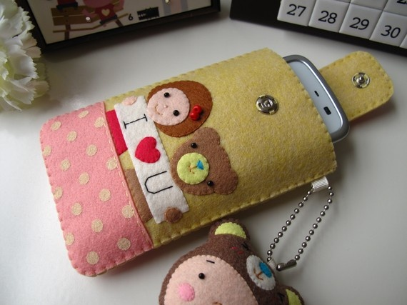 I Love You Handmade iPhone/Cell Phone Case-Yellow