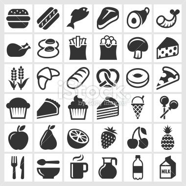 Food on Black and White royalty free vector icon set Royalty Free Stock Vector Art Illustration