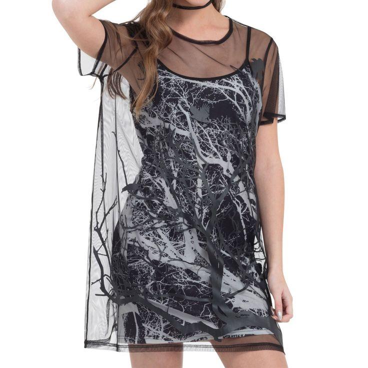 Jawbreaker Branch and Crow dubbel gelaagde jurk zwart/wit | Attitude H