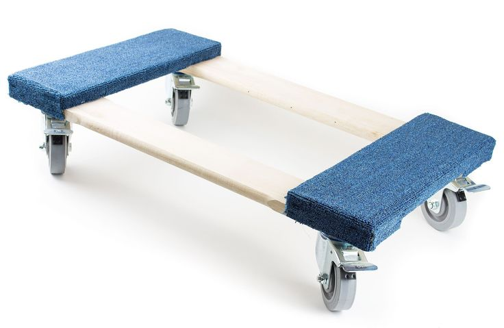 """NK Furniture Movers Dolly, Soft Gray Non-marking TPR Wheels, 30"""" Length x 17"""" Width (5"""" TPR Wheels with Brakes, Blue)"""