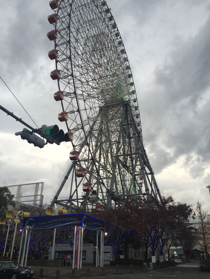 Tempozan Ferris wheel. The first in the world to accommodate wheelchairs. Apparently the lights show the weather prediction for the next day.