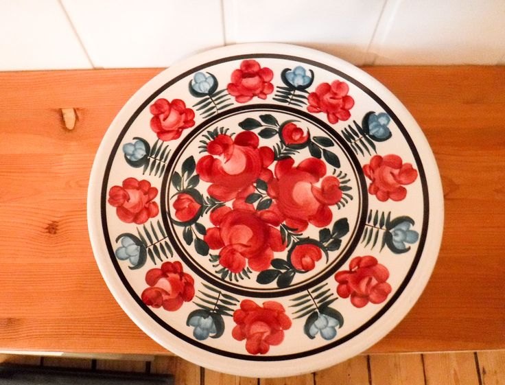 Wall hanging plate / ironstone plates / hand painted plate / decorated plate / flower art / folk art / ceramic wall decor / large plate by GrandmasOldStories on Etsy