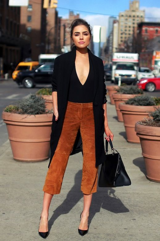 Street Style: A Sexy Take On Suede Culottes (Le Fashion)