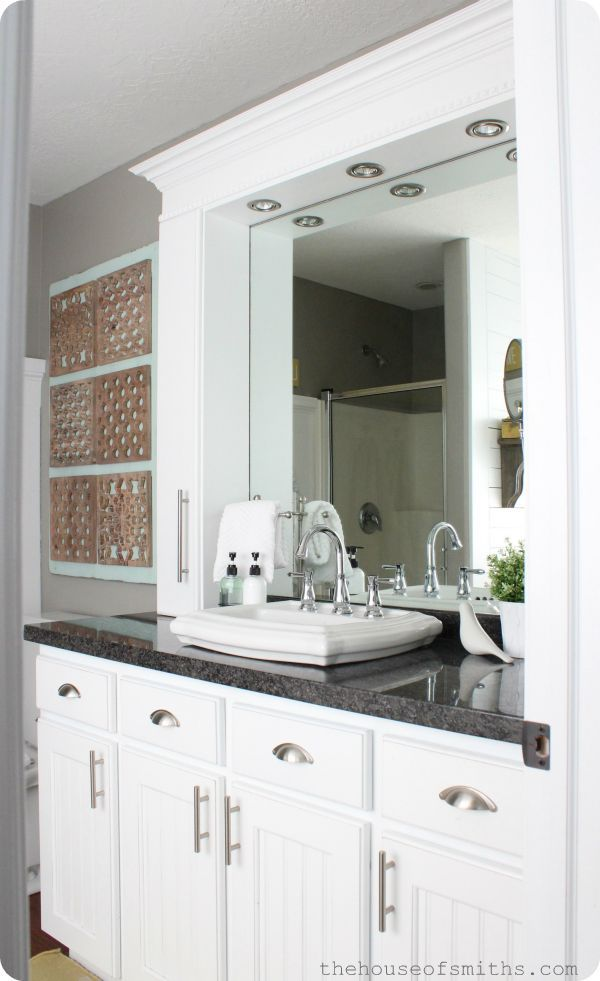 Small Master Bathroom Remodel With Stylish Affordable Countertop Storage Small Master Bathroom Master Bathroom Makeover Bathroom Vanity Makeover