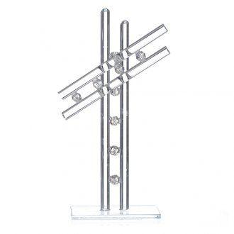 Cross Murano Glass white h. 16cm   online sales on HOLYART.co.uk