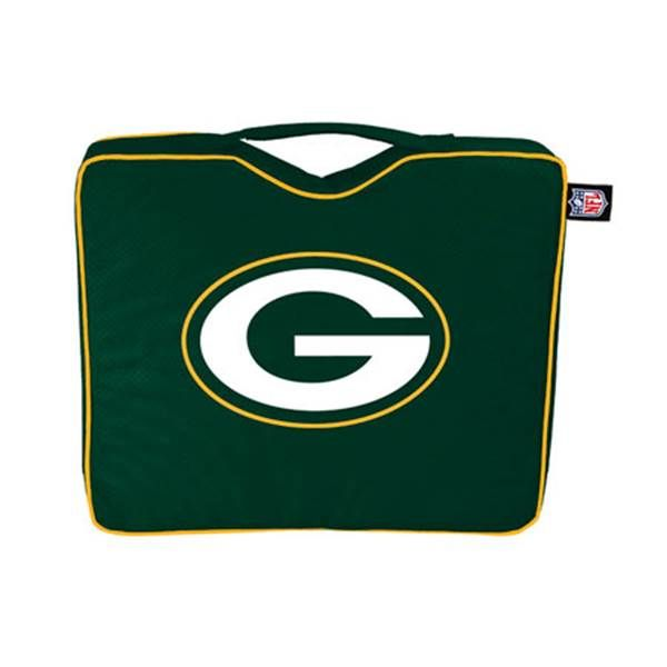 "Mfr #: 755105, Team: Green Bay Packers, Great way to support your team!, Stay comfortable during the game!, Light weight seat cushion makes for easy transportation to the game, Features integrated carry strap, Features primary logo and team color materials, Non slip bottom, 600D polyesterTeam: Green Bay Packers Size: 14"" x 2"" x 12"" Quantity: 1 Color: Green / Yellow."