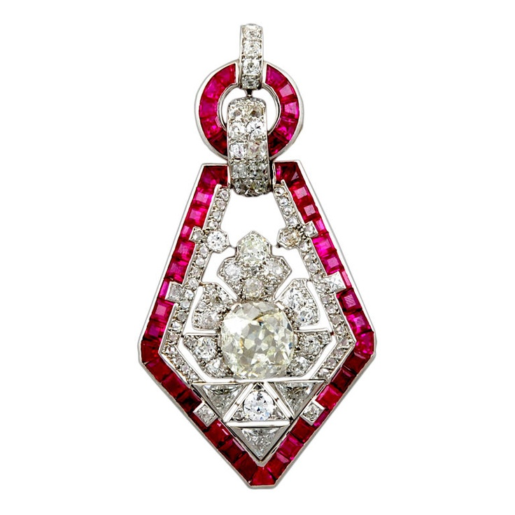 For the love of bling!!!!! Cartier Art Deco Diamond Ruby Pendant, France, Circa 1920's