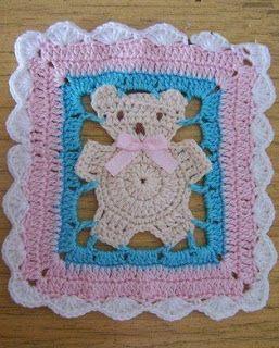 LE GATTE COI TACCHI: Schema all'uncinetto copertina neonato con orsetti...