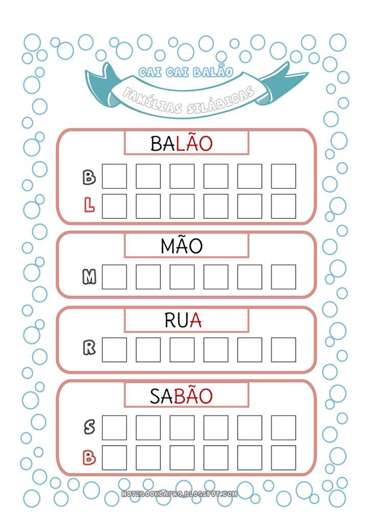 Usando uma das fases do método do Paulo Freire, vamos fragmentar as palavras-chaves em sílabas e conhecer toda a família silábica de cada um...