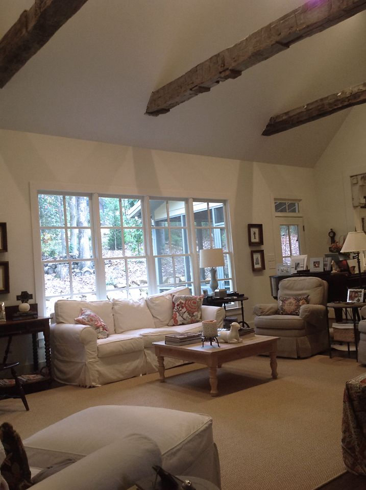 Salvaged wood beams from Southern Accents Architectural Antiques installed in the home of Susan Barrows