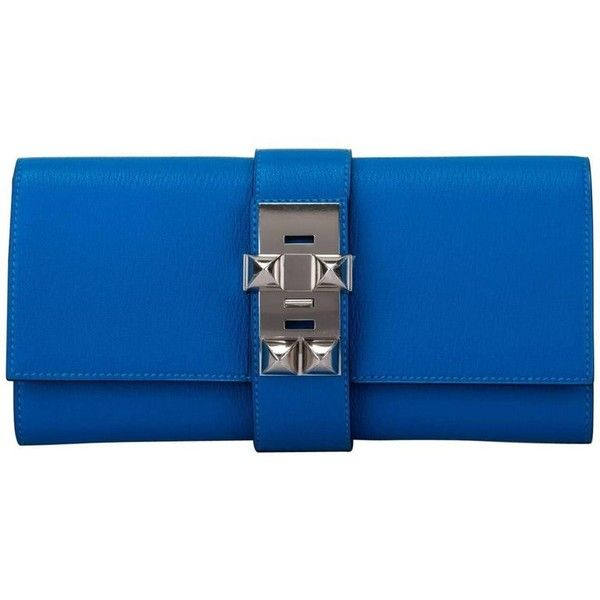 Preowned Hermes Blue Zanzibar Chevre Medor Clutch New In Box (108.178.505 IDR) ❤ liked on Polyvore featuring bags, handbags, clutches, blue, shopper handbags, felt purse, hermes handbags, blue shopping bag and felt handbag