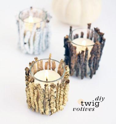DIY Easy fall tea candle holders with twigs // Egyszerű őszi mécsestartók faágakból // Mindy - craft & DIY tutorial collection