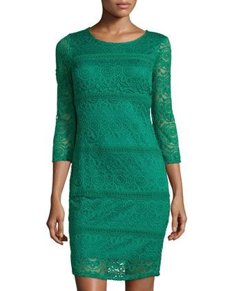 3/4-Sleeve Lace Dress, Emerald Green by Neiman Marcus at Neiman Marcus Last Call.