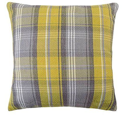 "STIRLING FILLED TARTAN CHECK PLAID EVANS LICHFIELD YELLOW GREY WOOL LOOK FEEL CUSHION 17"" - 43CM"
