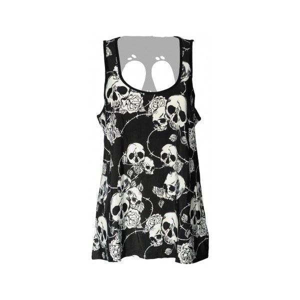 Gothic clothing: Banned skull roses top for women ($29) ❤ liked on Polyvore featuring tops, cut-out tops, rosette top, cutout tops, gothic tops and black white top