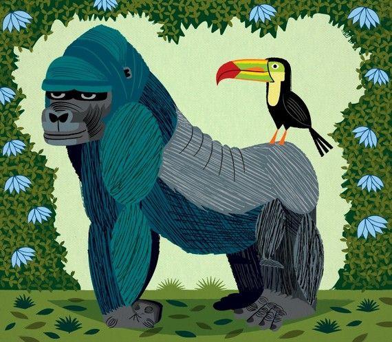 iLLUSTRATION d'iOTA le gorille et le Toucan par iotaillustration