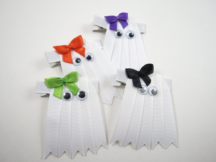 Halloween Ghost Hair Clip - Halloween Ribbon Sculpture Hair Clip - White Hair Clip - YOU PICK ONE - Custom Bow Color. $3.75, via Etsy.