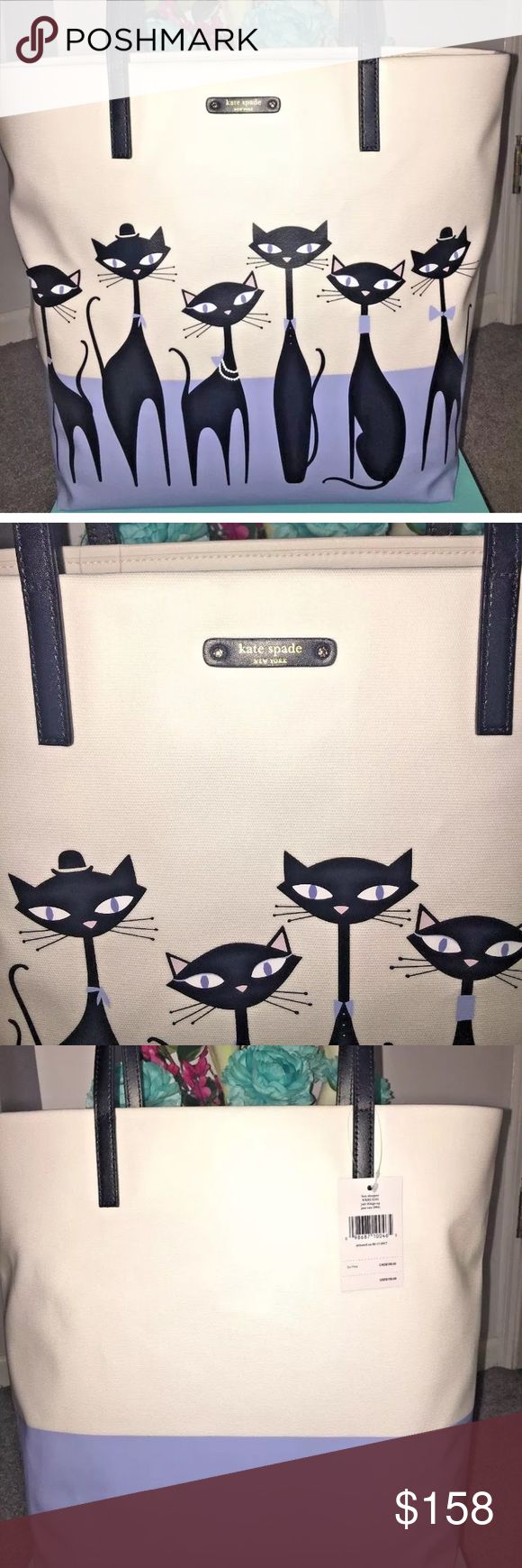 """♠️ Kate Spade Jazz Things Up Cat Bon Shopper Tote For every crazy cat lady to know:  Details: Kate Spade Jazz Things Up Collection  Bon Shopper Jazz Cats (984) in Color Black Debuted on 6/17/2017  Measurements Approximately: 12"""" x 13.5"""" x 5"""" Strap Drop is 8.5"""" Inches  -Fits any phone and some essentials for the on-the-go gal! -Open Tote (no zip) -2 Side bag open slots for Credit Cards kate spade Bags Totes"""